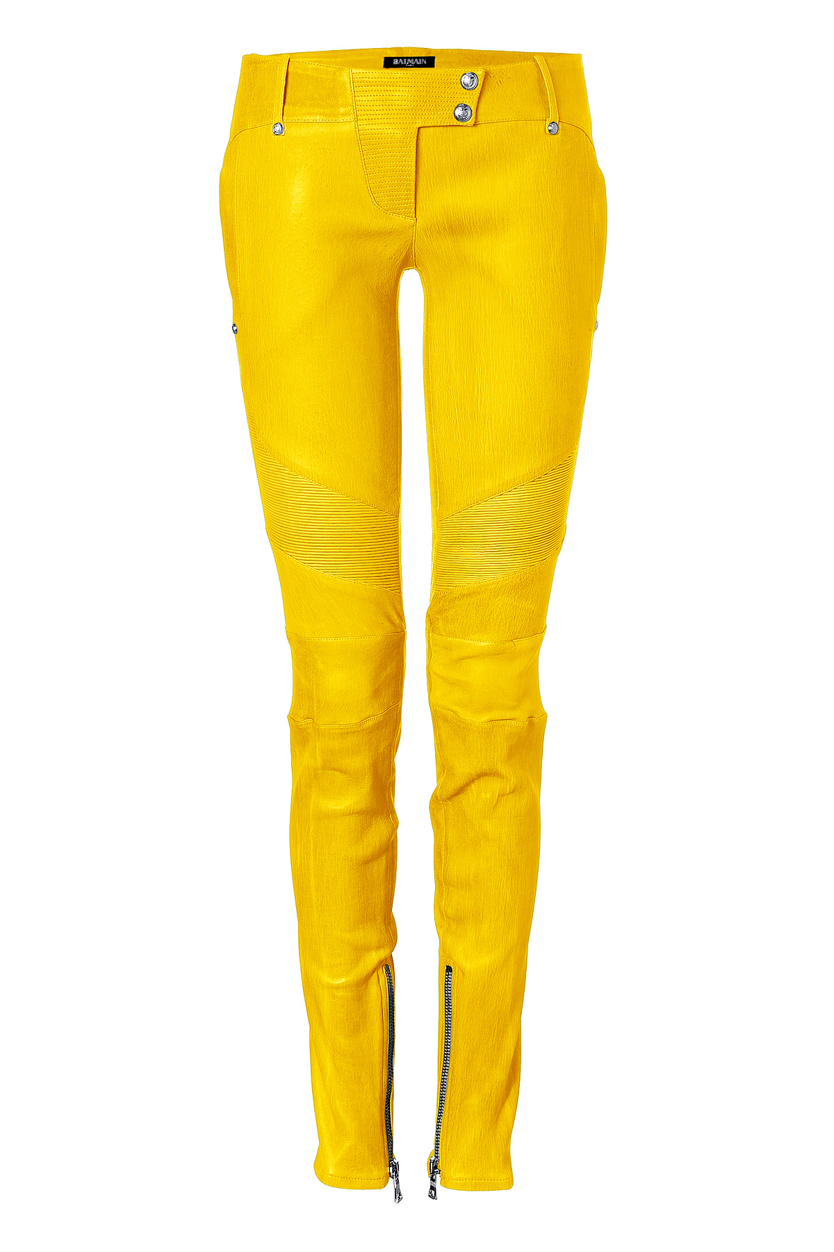 Lyst Balmain Low Rise Skinny Leather Pants In Yellow