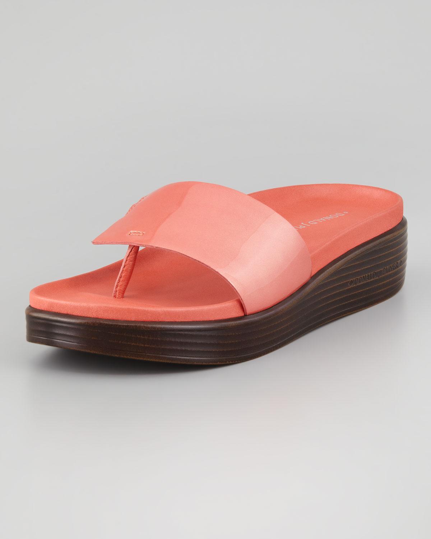dfc10732449 Lyst donald pliner fifi patent strap slide thong sandal salmon jpg  1200x1500 Donald pliner slide sandals