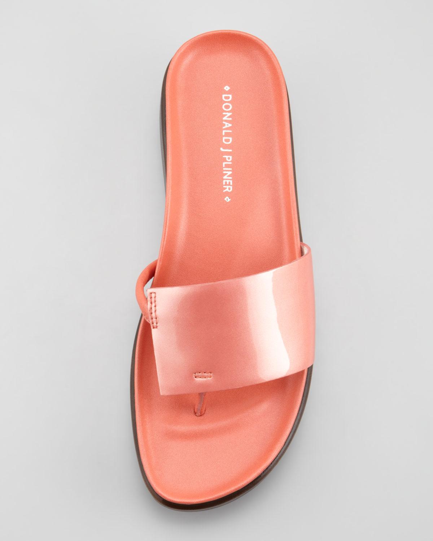 2a379ccb05c Lyst - Donald J Pliner Fifi Patent-strap Slide Thong Sandal Salmon ...