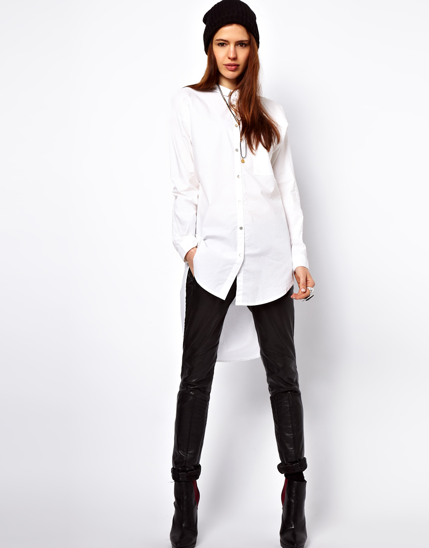 Just female Dress Shirt with Dipped Hem in White   Lyst