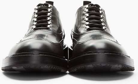 Kris Van Assche Black Leather Lug Soled Wingtip Shoes in Black for Men