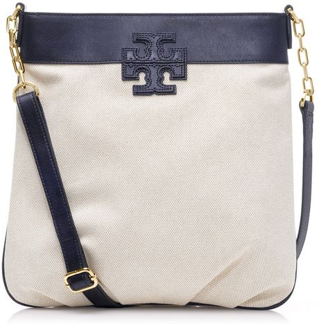 Tory Burch Stacked T Book Bag in Blue (tory navy/natural)