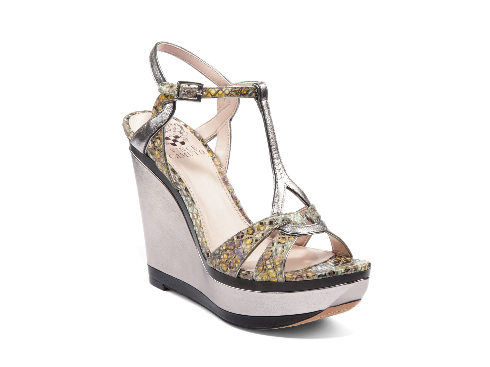 Vince Camuto Exotic Platform Wedge Sandals Casidy In Beige