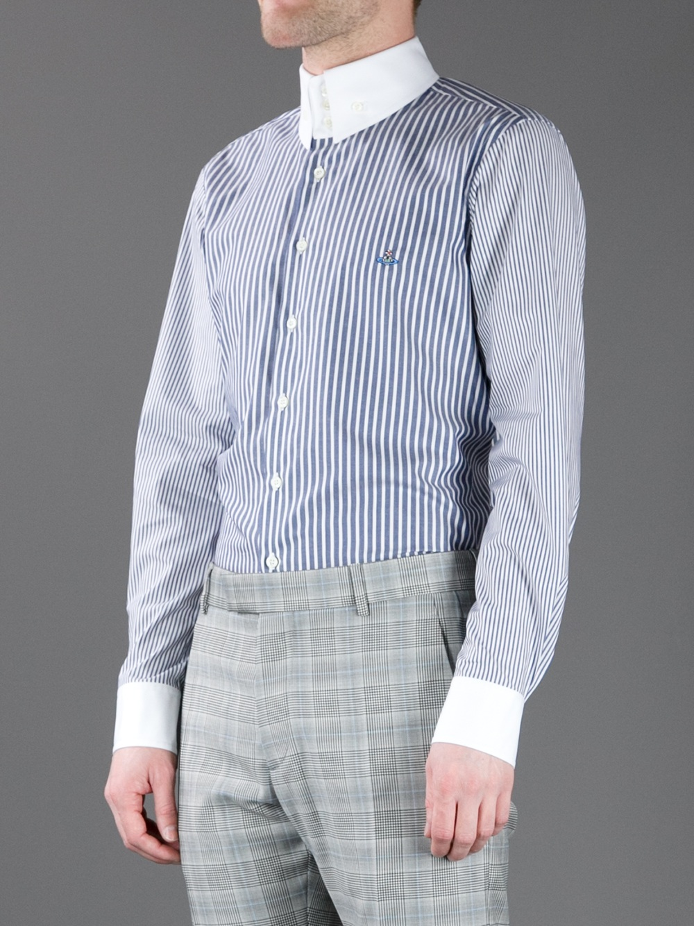 Vivienne westwood three button collar shirt in blue for for Three button collar shirts