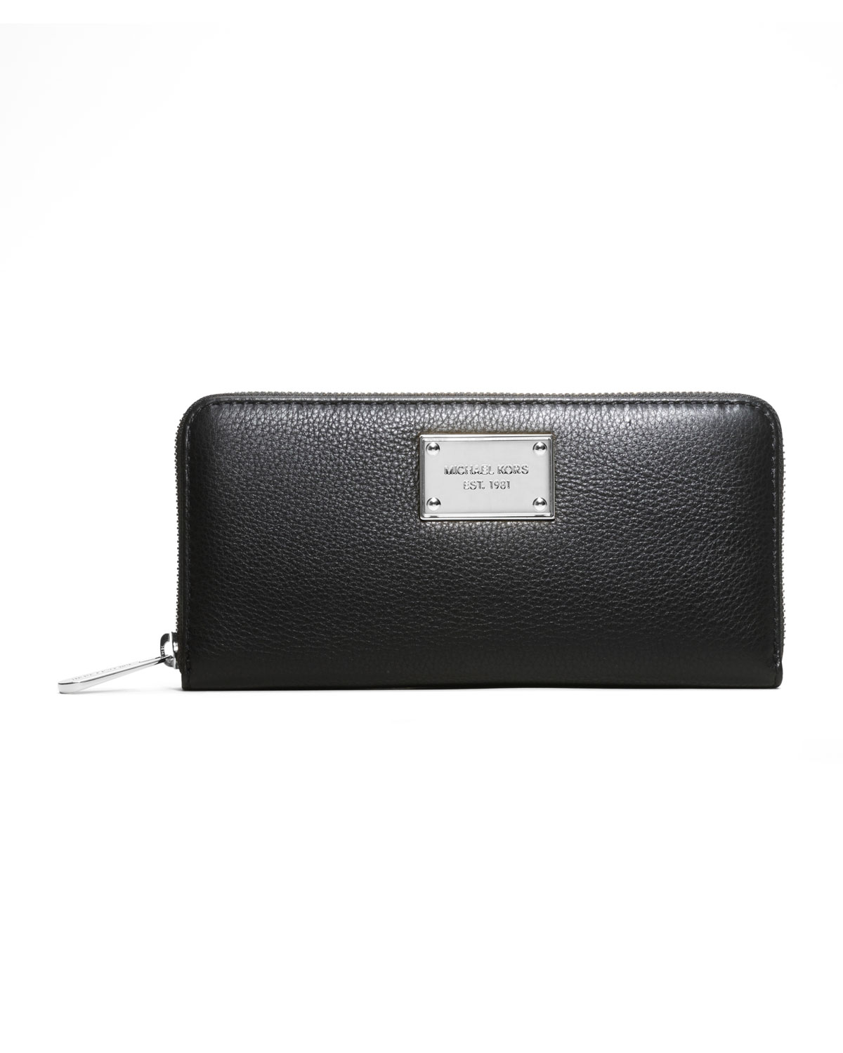 59b54e8ce6cf Black Pebbled Leather Wallet Michael Kors | Stanford Center for ...