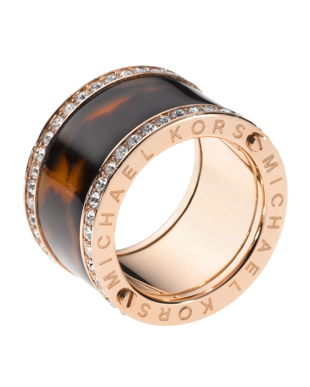 michael kors pave tortoise barrel ring in pink rose gold. Black Bedroom Furniture Sets. Home Design Ideas