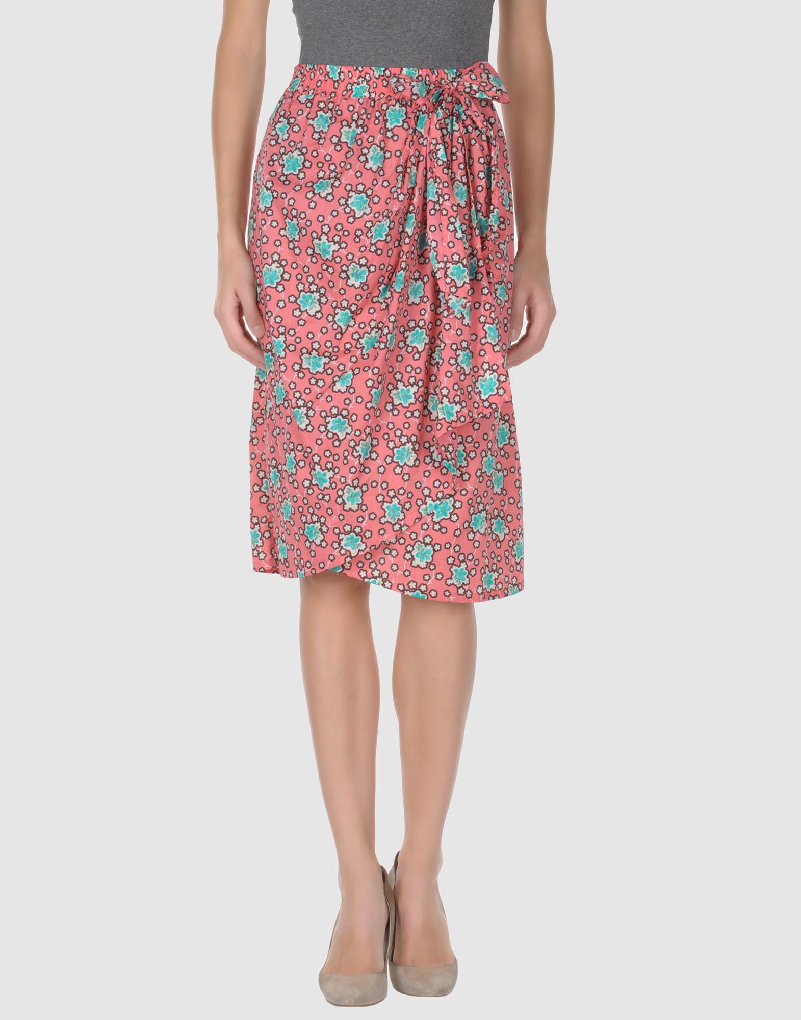 paul joe knee length skirt in pink coral lyst
