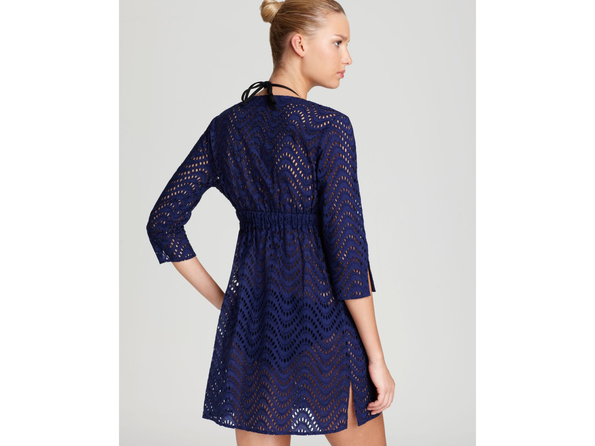 bcd6fd28d Shoshanna Tunic Waves Eyelet Swim Coverup in Blue - Lyst