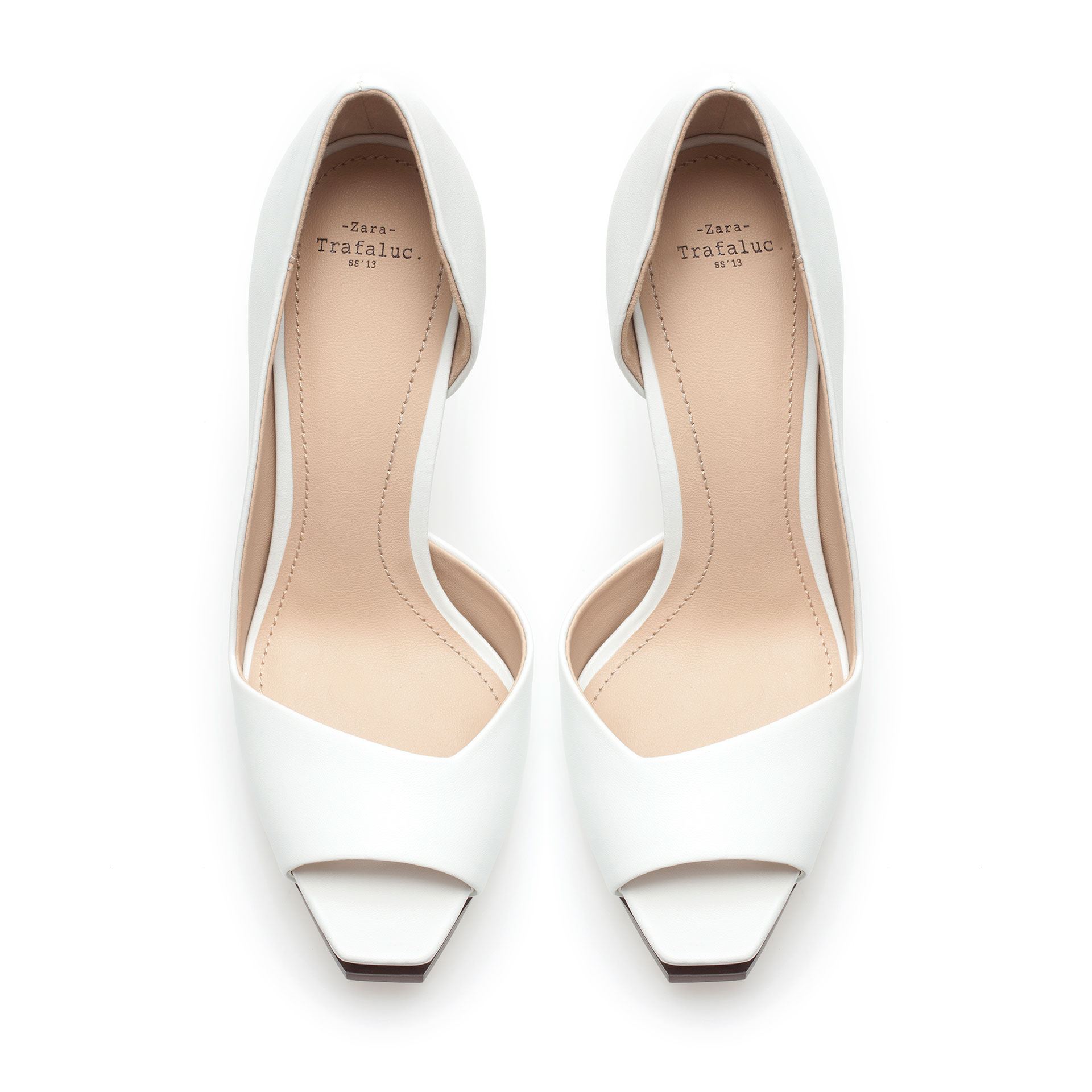 Off White Peep Toe Heels