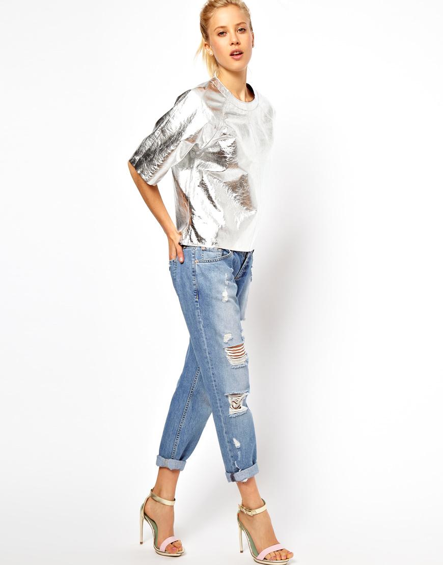Asos collection asos t shirt in metallic leather in for Silver metallic shirt women s