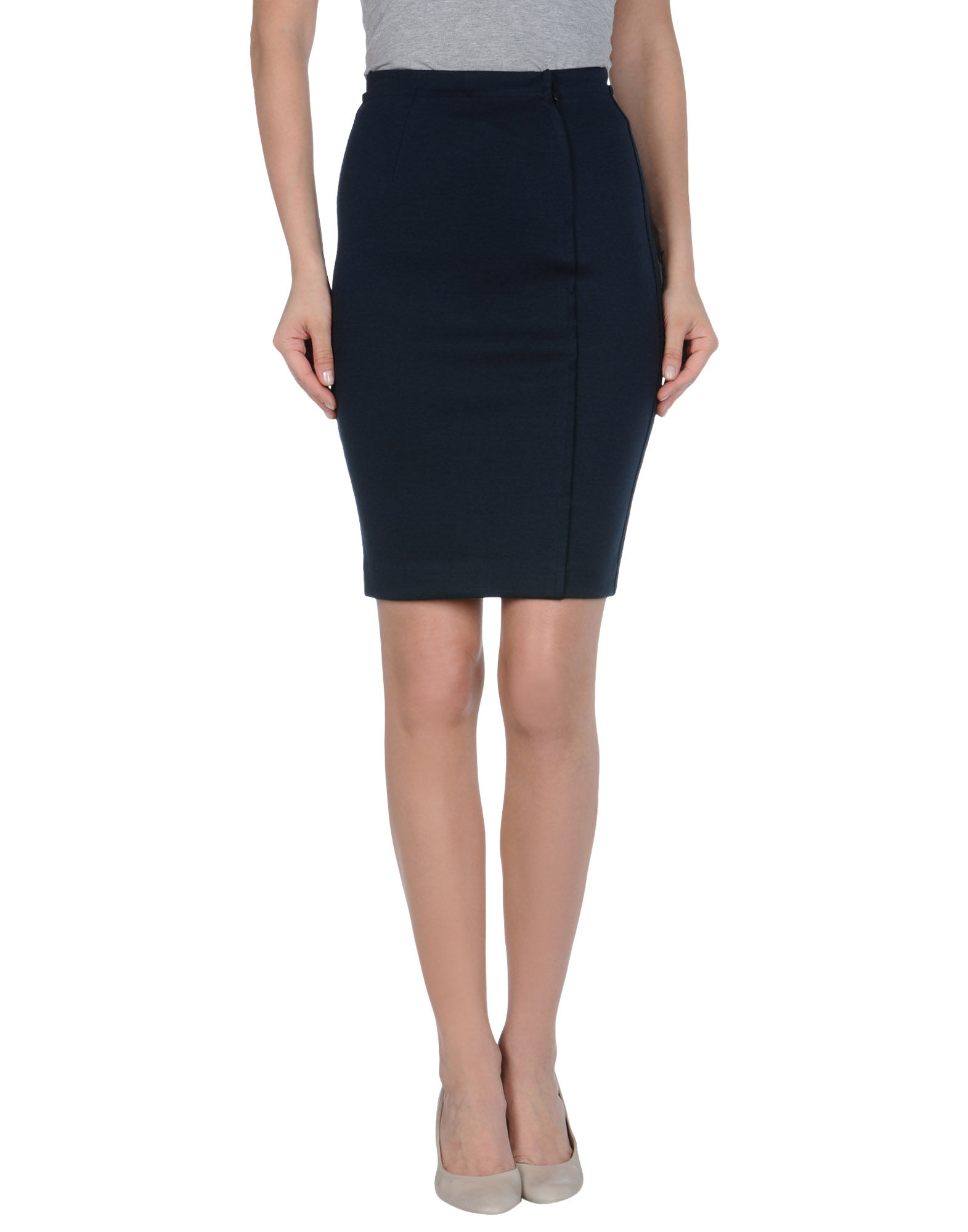 costume national knee length skirts in blue slate blue