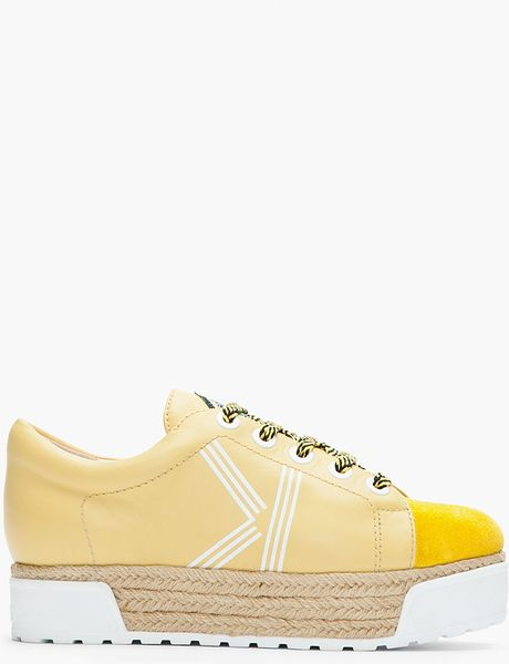 Kenzo Yellow Leather Sneeky Espadrille Platform Sneakers in Yellow