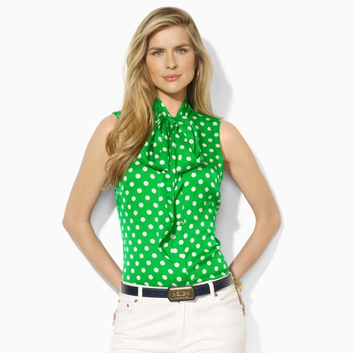 As the end of summer nears, I am pulling out my full and feminine polka dot skirt and pairing it with a Kelly Green pussy bow blouse.