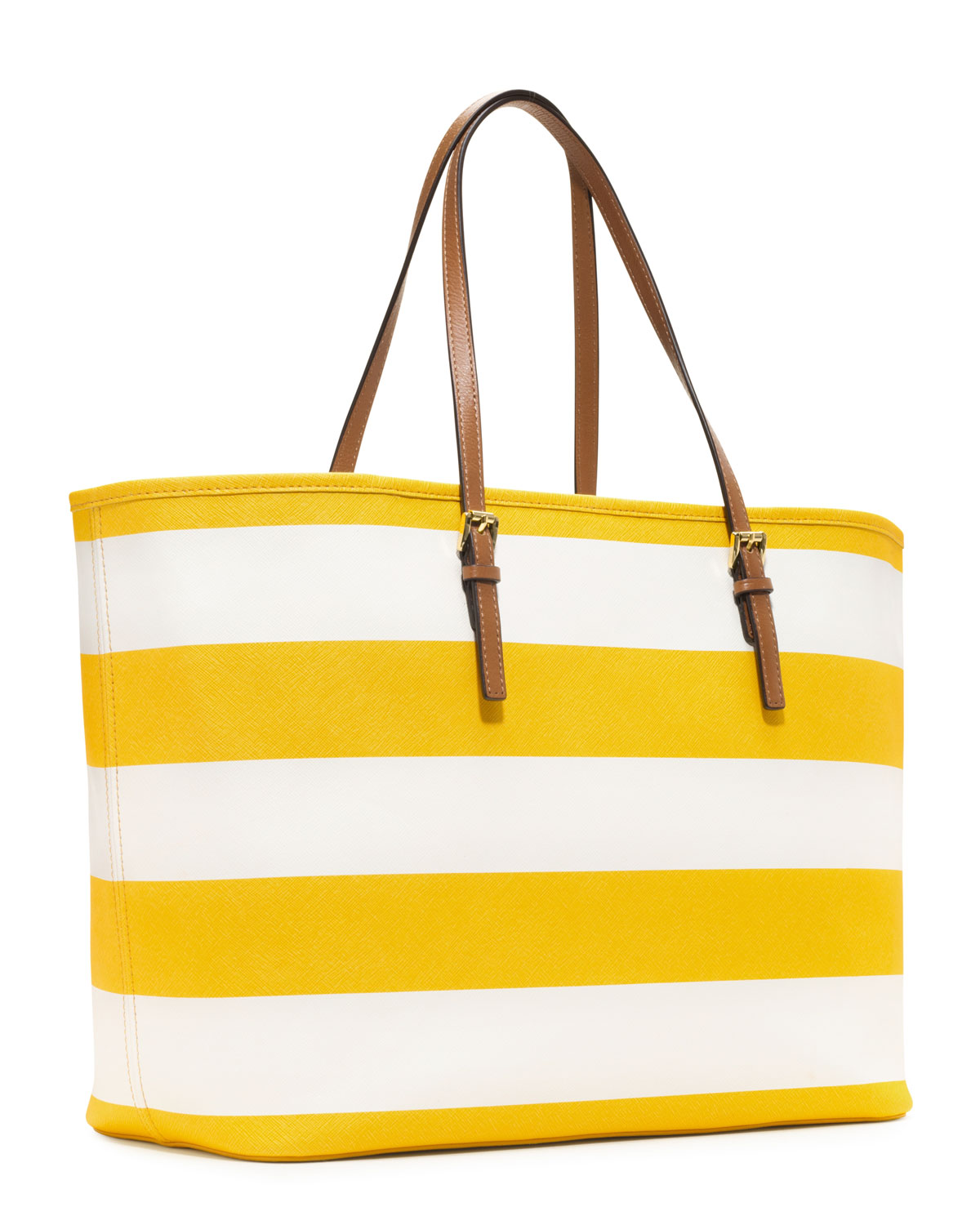 22257538df70 Lyst - Michael Kors Medium Jet Set Striped Travel Tote in Yellow