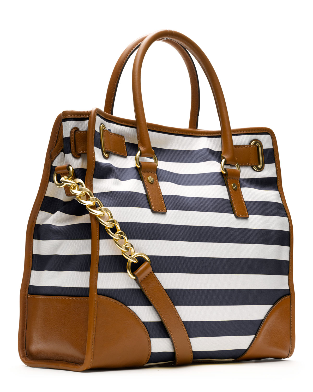 Lyst - Michael Kors Large Hamilton Striped Canvas Tote in Blue 9e15c60ee2