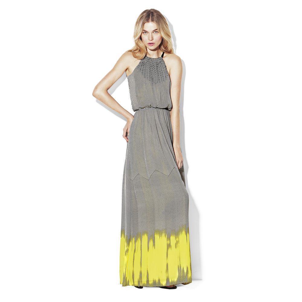 Lyst - Vince Camuto Back Tie Halter Maxi Dress in Yellow