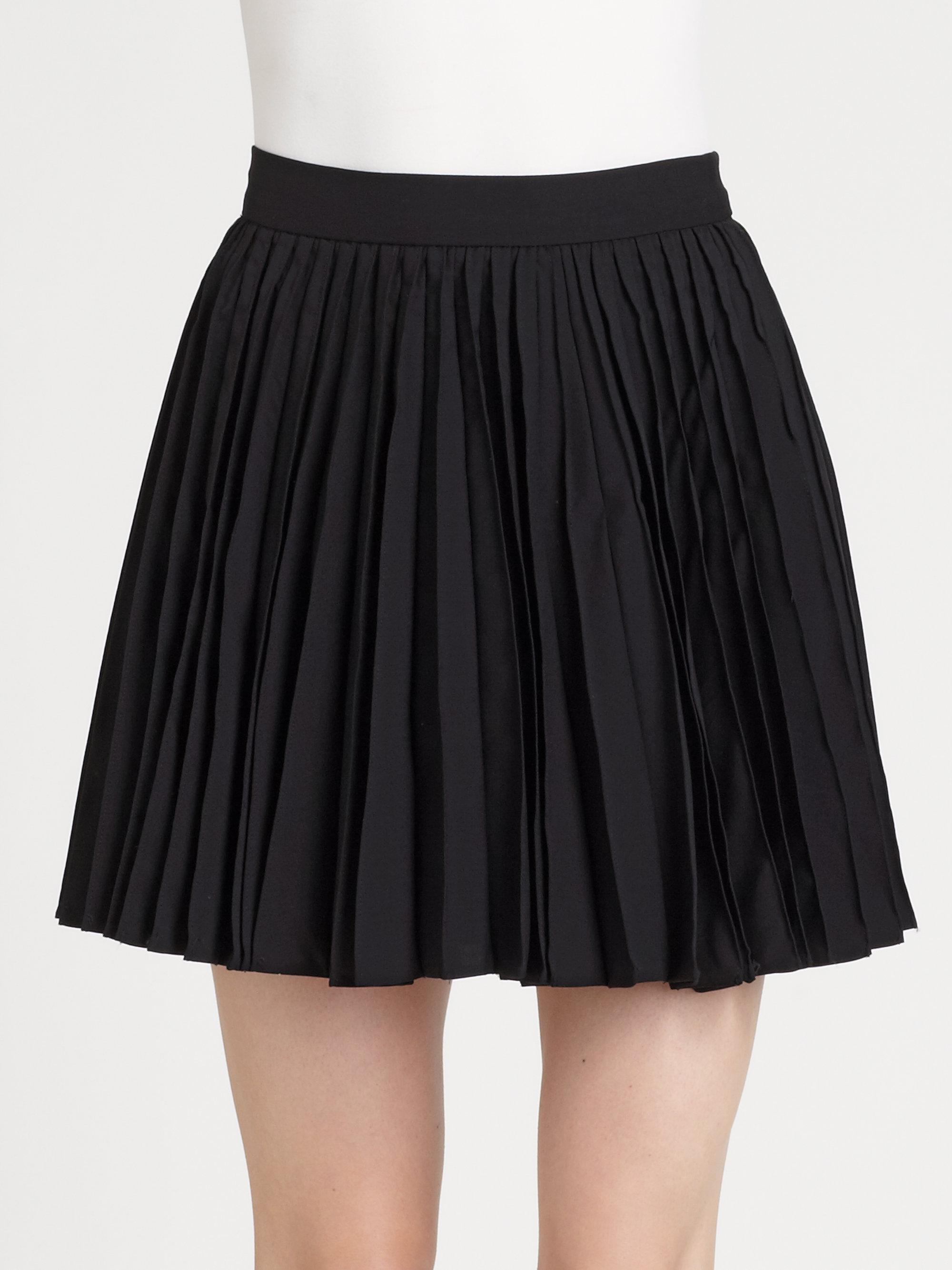 Alice Olivia Olette Pleated Mini Skirt In Black Lyst