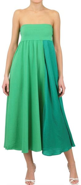 Antonio Marras Cotton Voile and Jersey Long Skirtdress in Green (emerald)