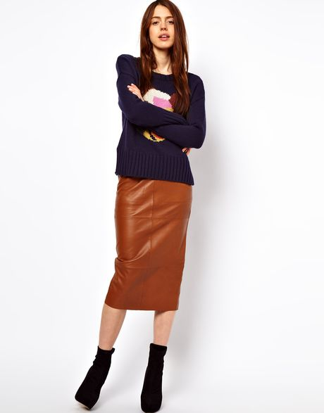 glamorous asos pencil skirt in leather in brown lyst