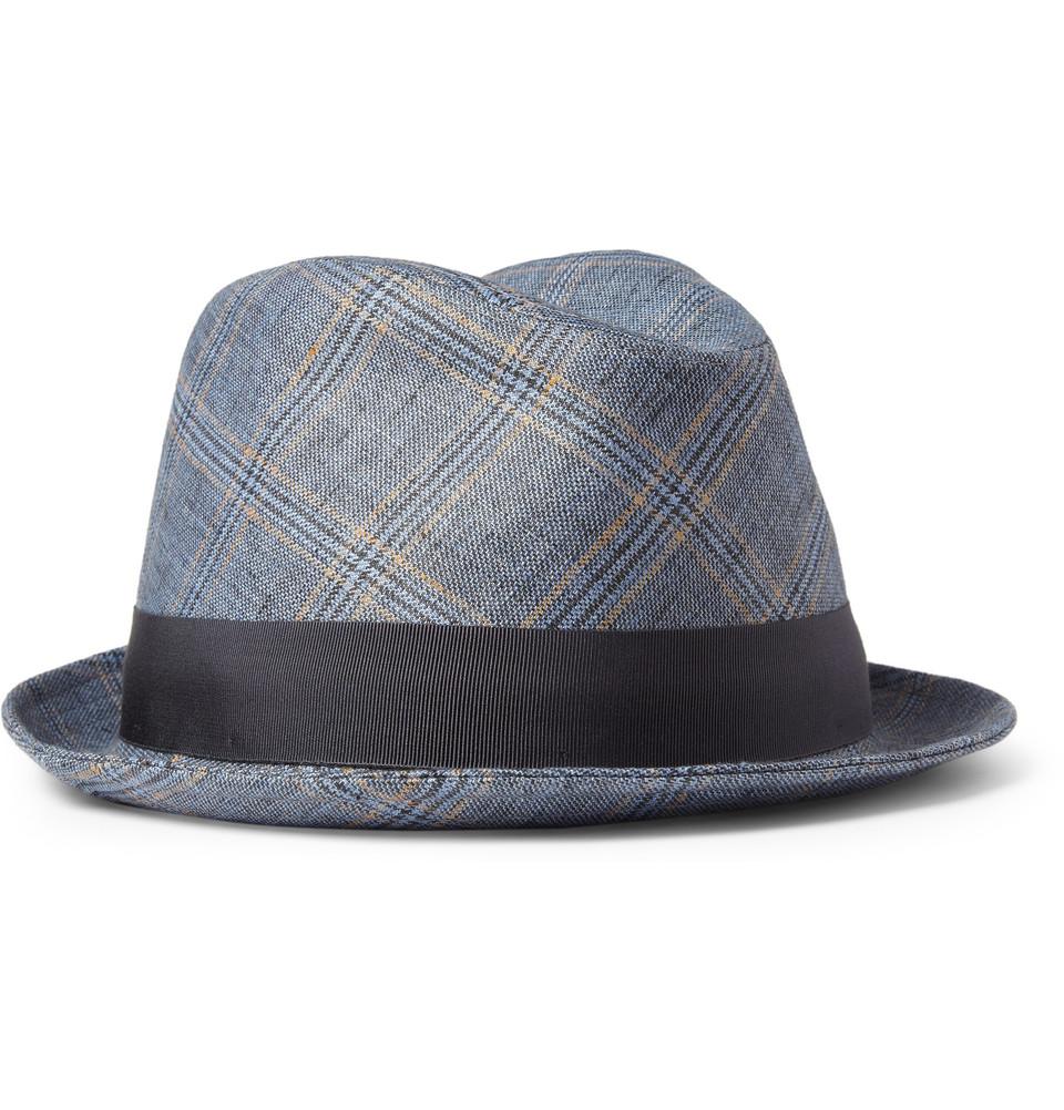 Lyst - Borsalino Plaid Linen Trilby Hat in Blue for Men 797beb3d7e91