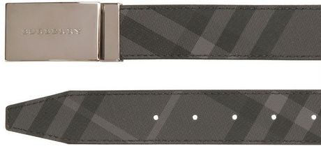 Burberry  Coated Cotton Reversible Belt in Gray for Men (black/check)