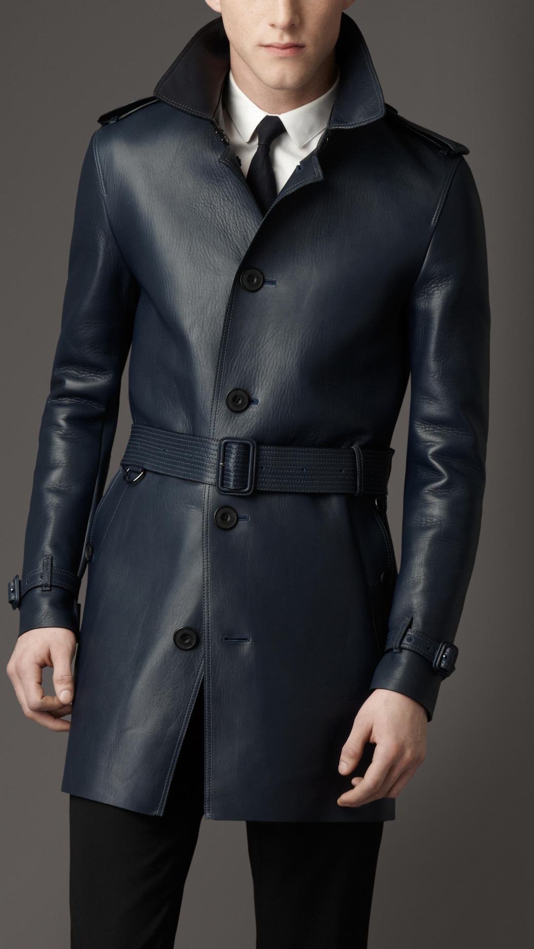 Burberry Midlength Lambskin Leather Trench Coat In Blue