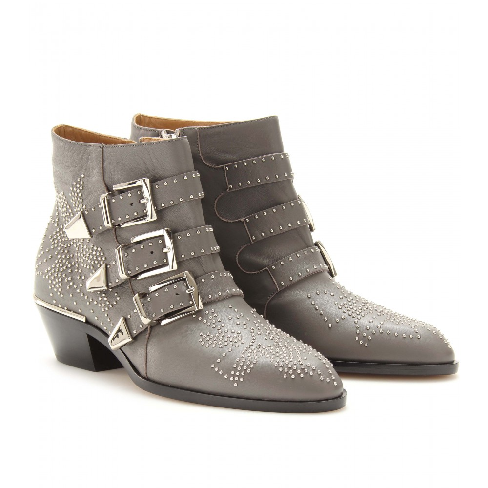 chlo studded leather buckle ankle boots in gray slate lyst. Black Bedroom Furniture Sets. Home Design Ideas