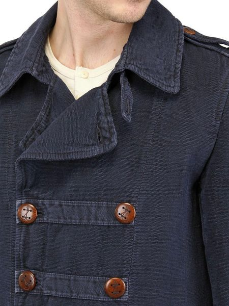 Corto Maltese Old Garment Dyed Casual Jacket In Blue For