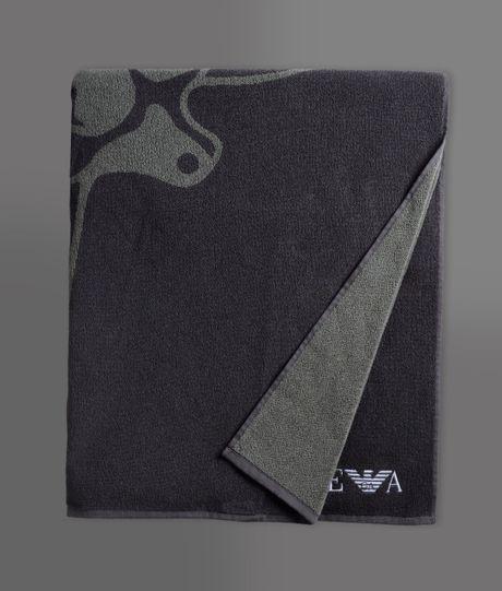 Ralph Lauren Mens Beach Towel: Emporio Armani Beach Towel In Gray For Men (grey)