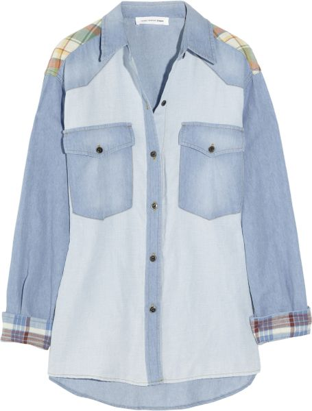 Etoile Isabel Marant Guan Patchwork Denim and Plaid Shirt in Blue (denim)
