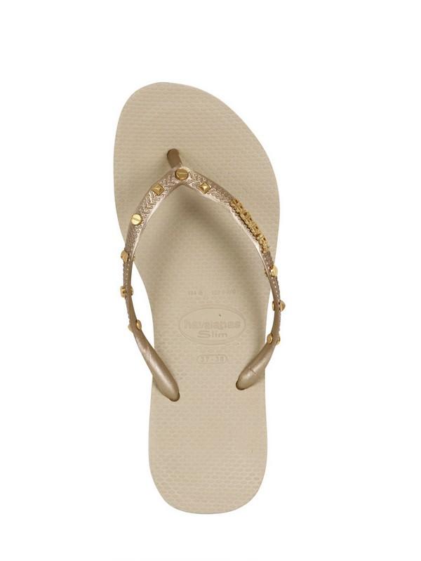 Havaianas Gold Studded Flip Flops In Metallic  Lyst-3225