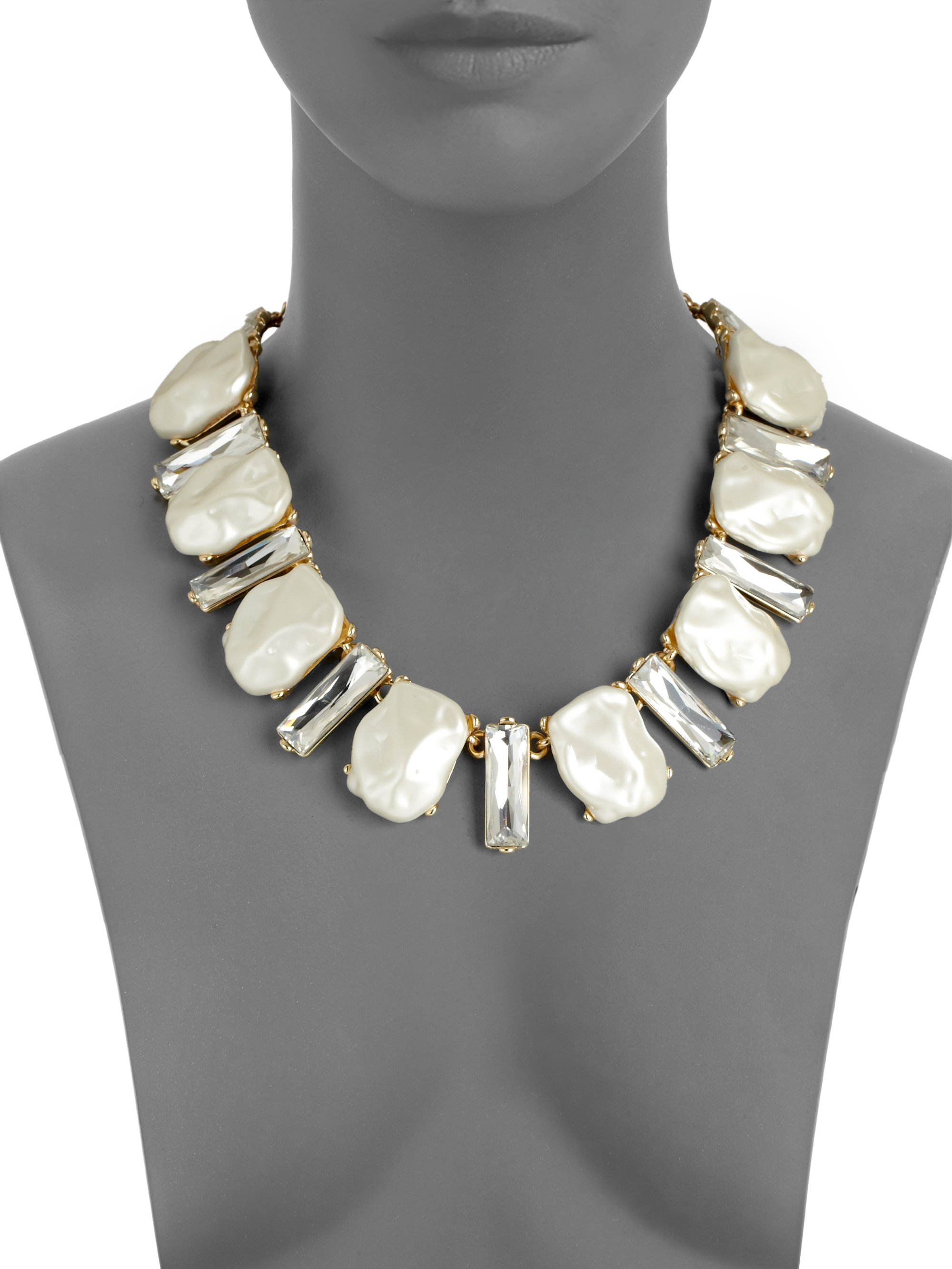 Kenneth Jay Lane White Pearl Necklace Pearl JICOgNi