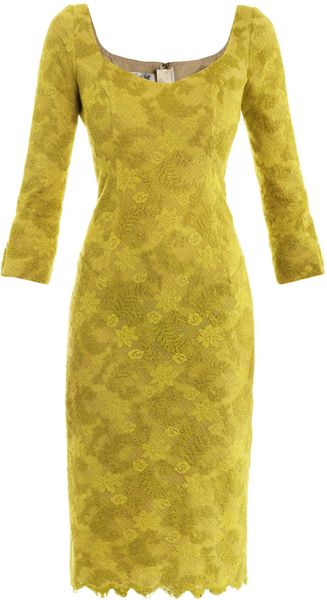 L'wren Scott Chartreuse Lace Dress in Yellow (chartreuse)