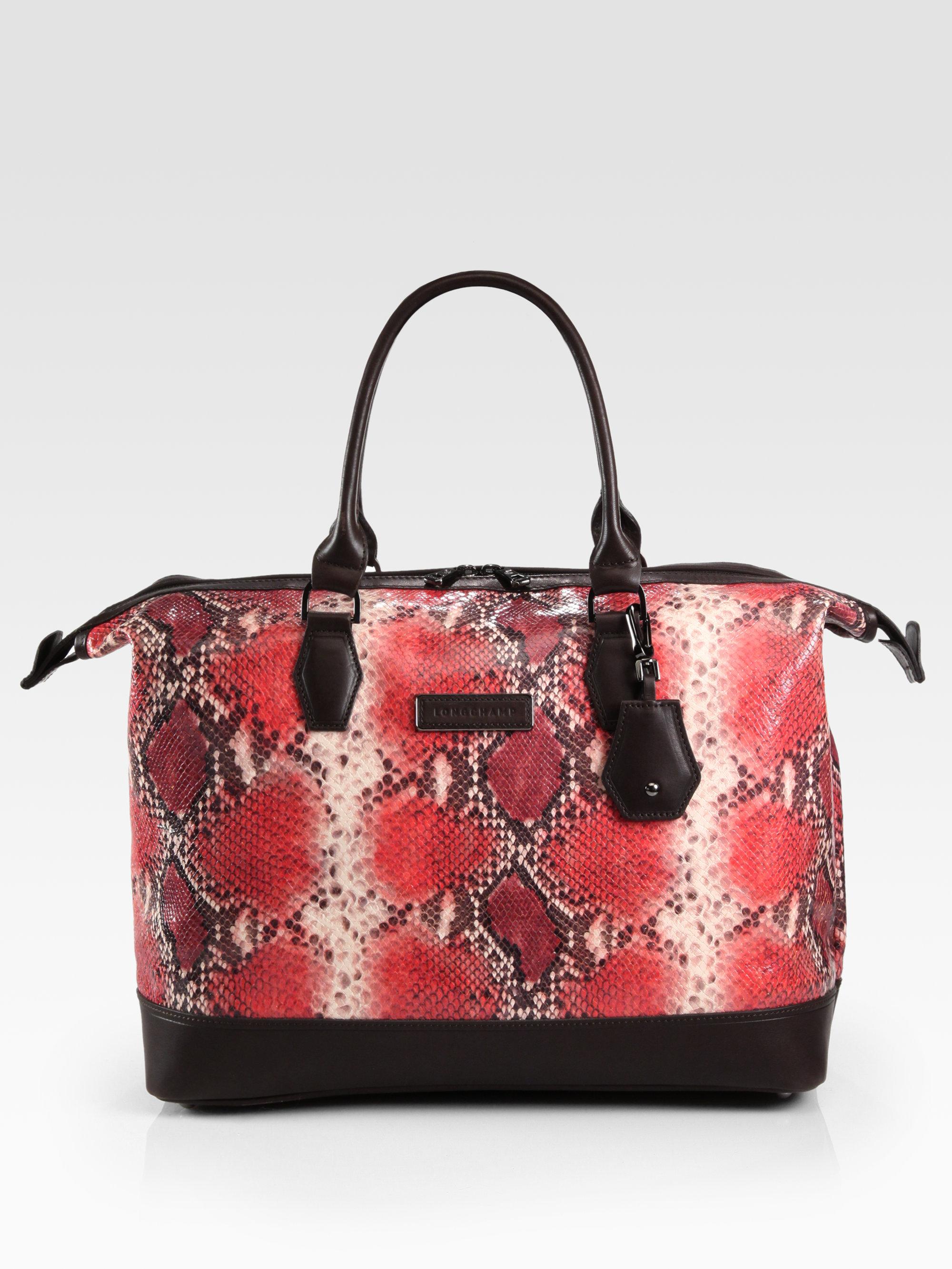 fe1deafc7f2ba2 Longchamp Legende Souple Snake Embossed Leather Top Handle Bag in ...