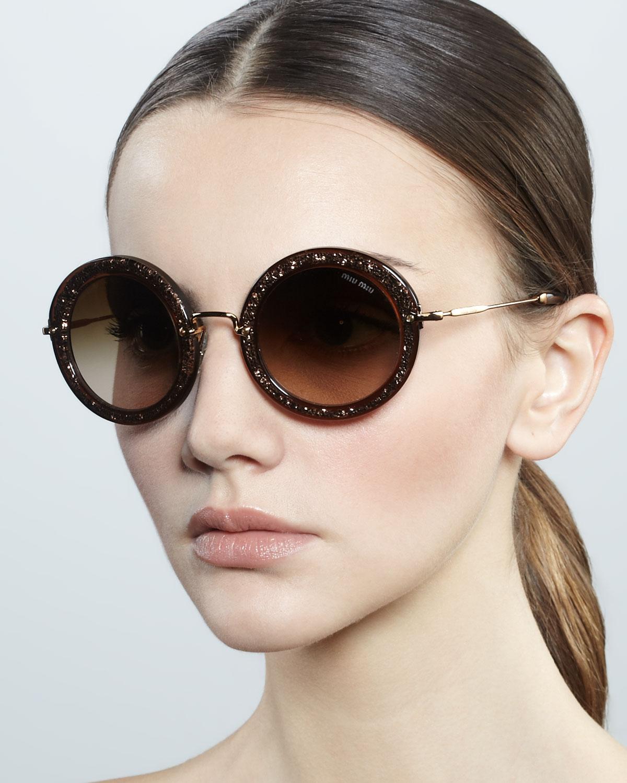 6517fa2b2fe0 Lyst - Miu Miu Oversize Circle Sunglasses in Brown