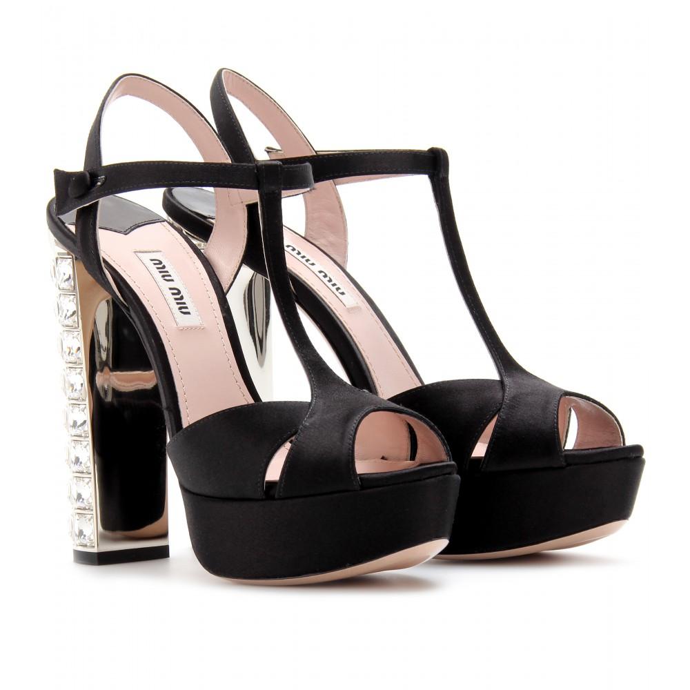 Womens Embellished Satin Platform Sandals Miu Miu xg7UW