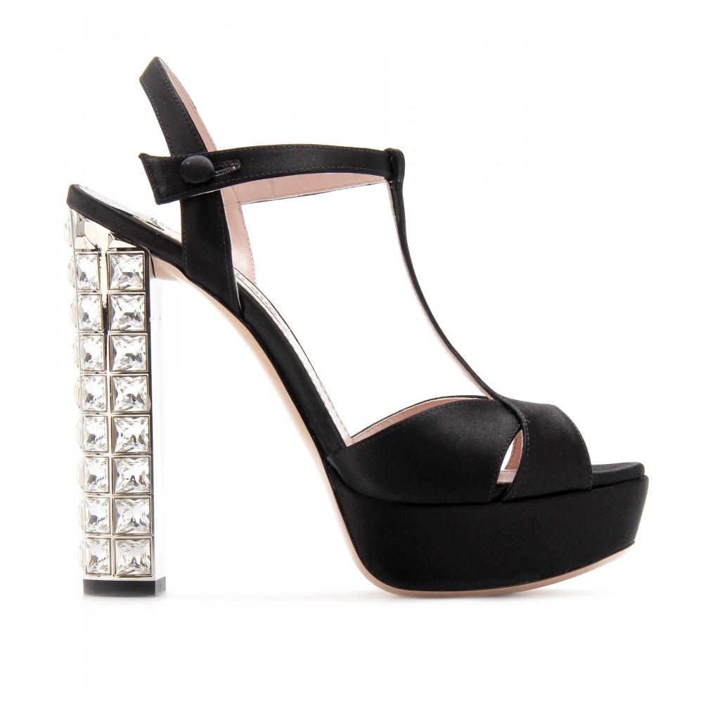 ae4c8598527 Lyst - Miu Miu Platform Sandals with Embellished Heel in Black