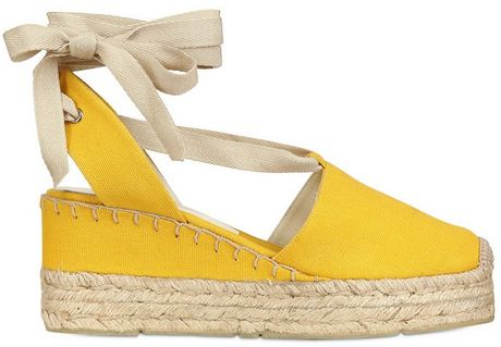 Ralph Lauren Canvas Espadrille Wedges In Yellow Lyst