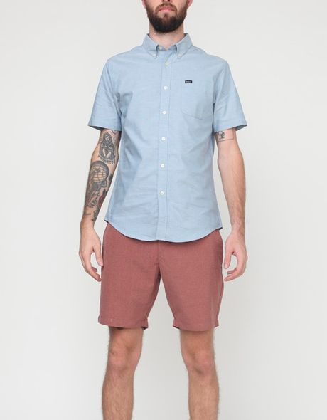 Rvca Thatll Do Oxford Ss in Blue for Men (olive mute)
