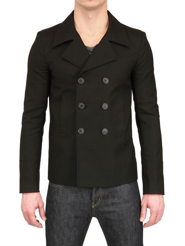 Saint laurent Reinforced Technical Cotton Pea Coat in Black for ...