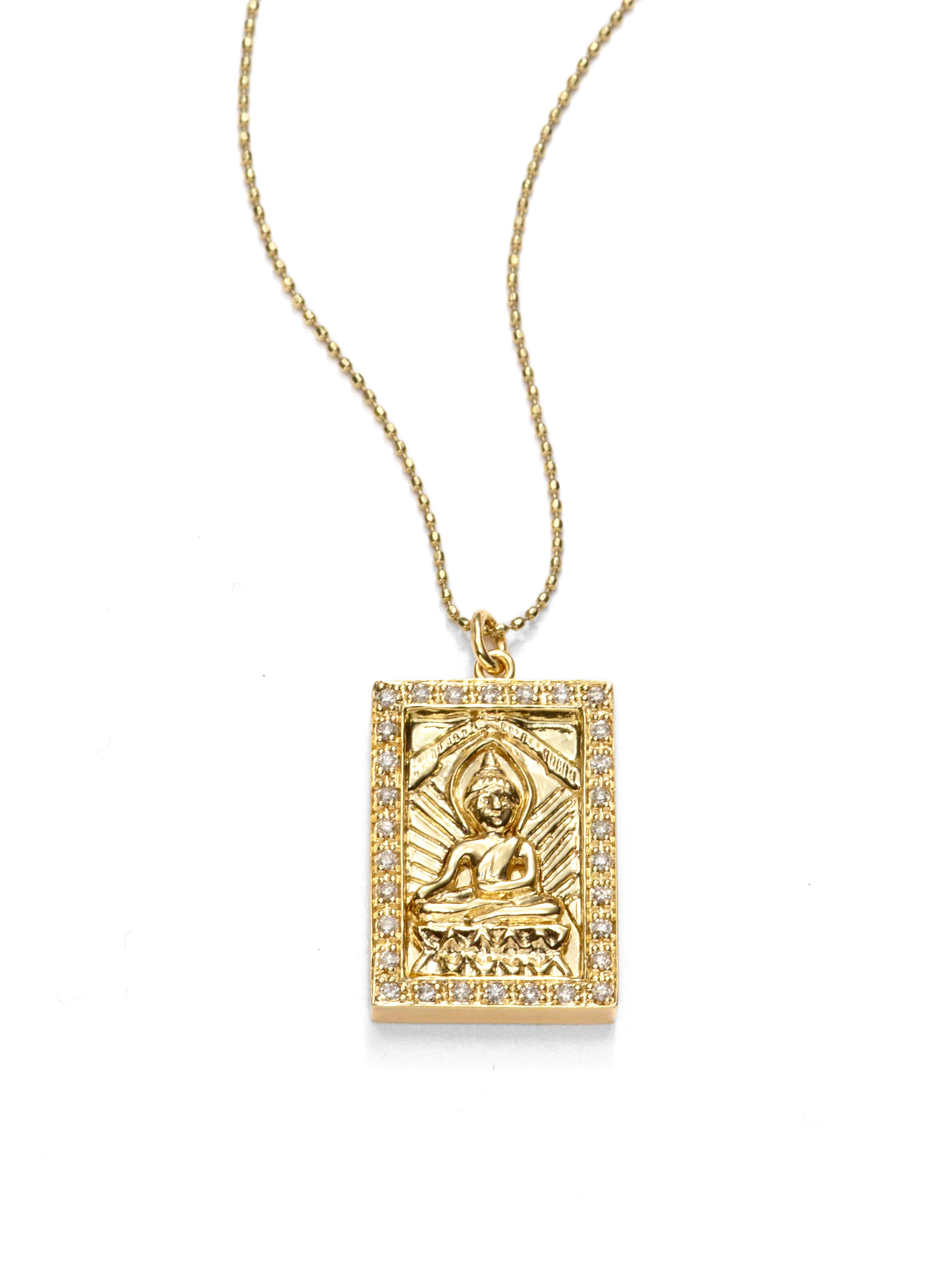 Lyst sydney evan diamond buddha pendant necklace in metallic gallery aloadofball Images