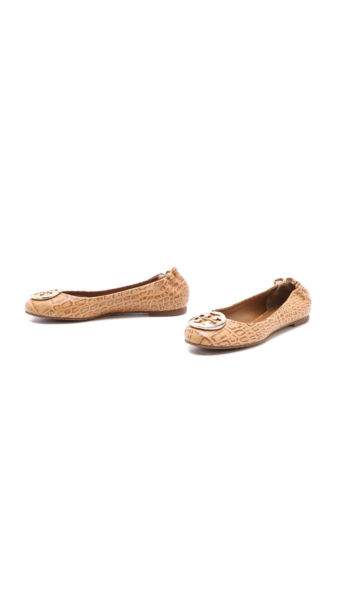 5478fdd655c9 Lyst - Tory Burch Reva Croc Ballet Flats in Natural
