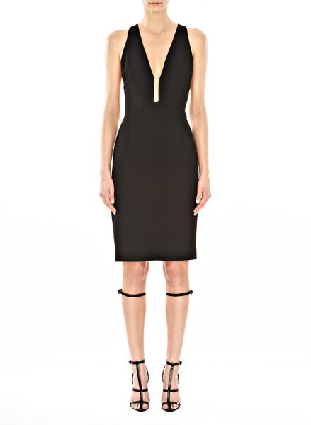 Alexander Wang Slim Fitted Fishline Vneck Dress in Black (onyx)