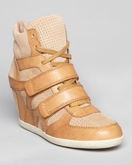 ash lace up high top sneaker wedges bea in beige natural chamois lyst. Black Bedroom Furniture Sets. Home Design Ideas