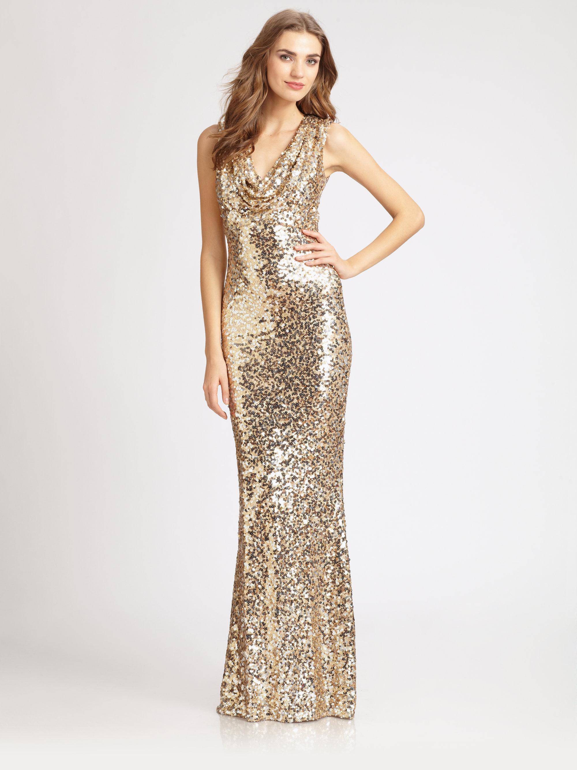 Lyst - Badgley Mischka Sequined Gown in Metallic