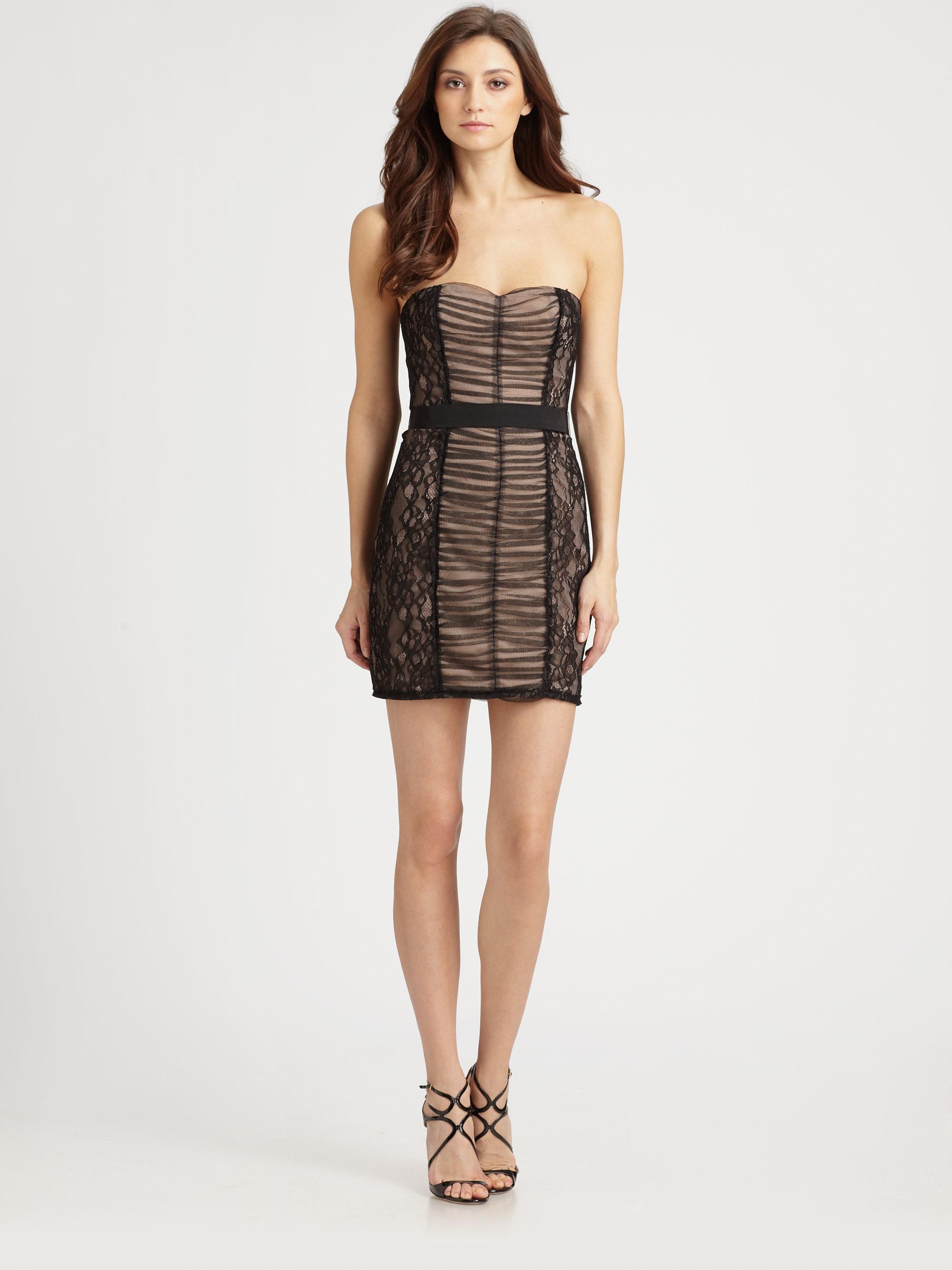 Bcbgmaxazria Strapless Lace Dress in Black - Save 44%   Lyst