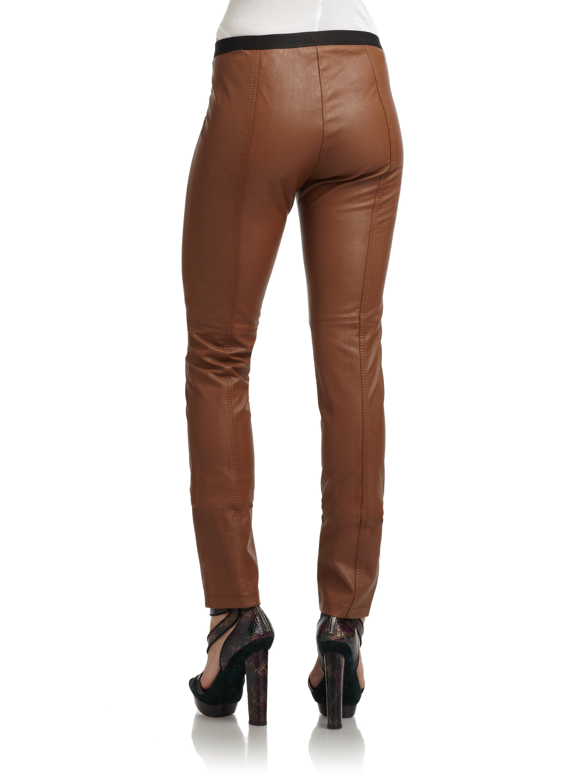 73f2560ffa542 BCBGMAXAZRIA Faux Leather Pants in Brown - Lyst