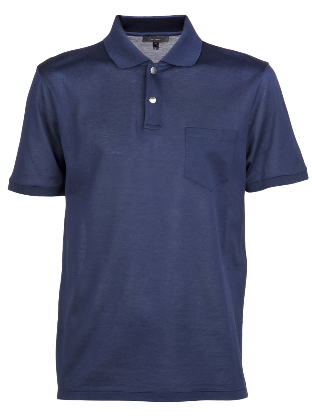 Belstaff beckford polo in blue for men indigo lyst for Mens shirts with snaps instead of buttons