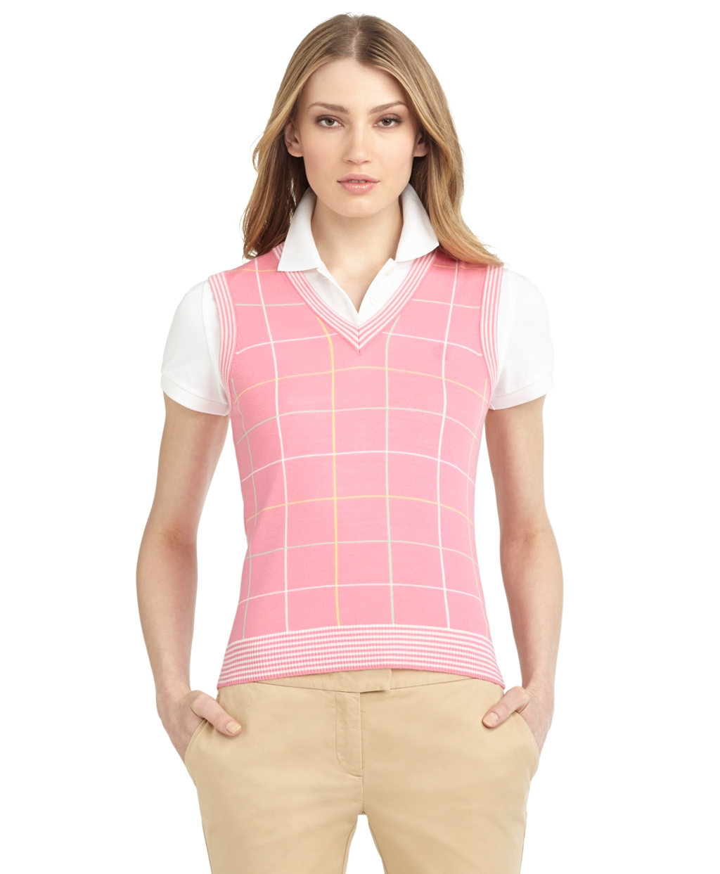 Brooks brothers Intarsia Sweater Vest in Pink | Lyst