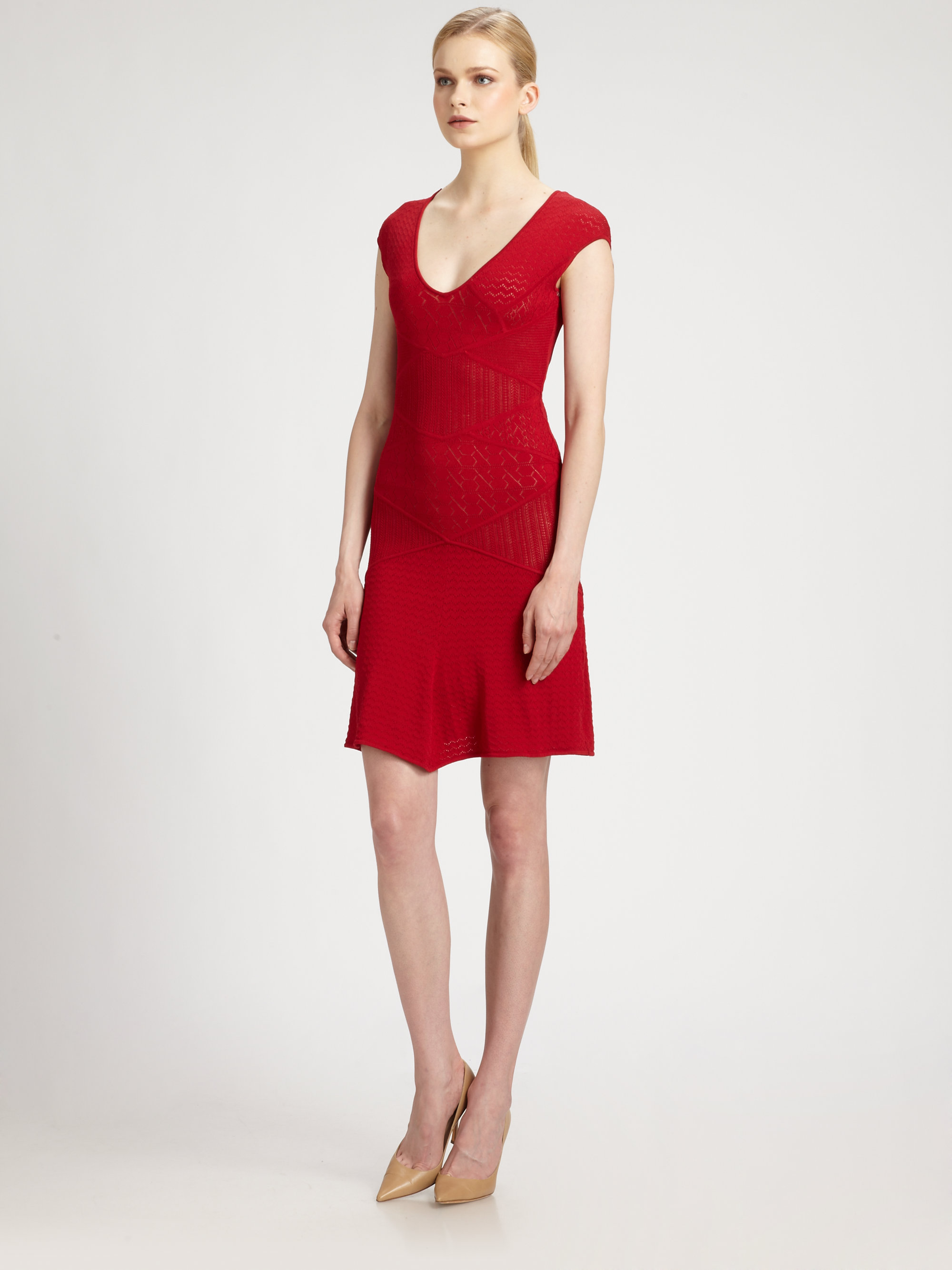 Catherine malandrino pointelle dress in red lyst gallery ombrellifo Choice Image